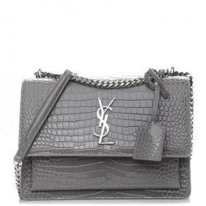 YSL SUNSET Medium Croc black Crossbody Brand New